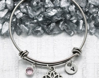 Lotus Flower Bracelet - Lotus Flower Jewelry - Yoga Related Gifts for Women - Yoga Bracelet for Girls - Personalized Initial Bracelet