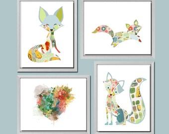 woodland nursery art, baby nursery wall art woodland decor baby animal nursery prints fox art baby girl nursery baby art woodland prints