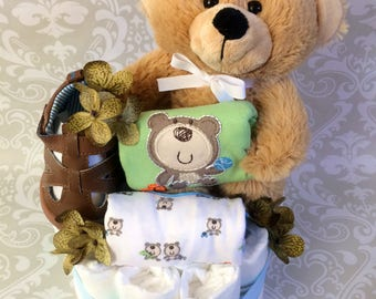 Baby Boy - Blue and Green one tier Bear Diaper Cake - an adorable baby shower gift, available now and ready to ship