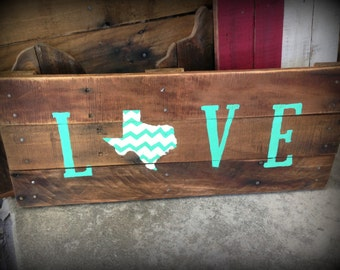 Texas wooden sign, chevron sign, Texas love, wedding gift, Custom Home sign, last name personalized wood, State sign, turquoise, mint, red,