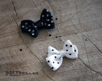 6 double bows in white and black polka dot fabric