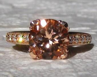 Vintage Inspired Morganite Rose Gold Engagement Rind, Morganite Engagement Ring