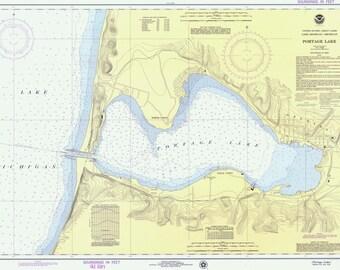 Portage Lake 1975 - Lake Michigan - Michigan - Nautical Map Reprint 10,000 scale - Great Lakes #7 - 777