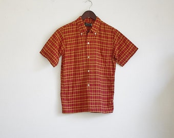 Vintage Mens Plaid Shirt, Red and Yellow Button Down, Collared Shirt, Short Sleeve Shirt, Plaid Shirt, Chest 36, Small