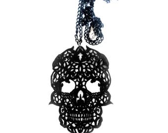 Lace skull-skull necklace-shrink art- plastic-skull-oversize-necklace-hand drawn-jewelry-gothic