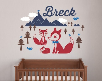 Fox Mountain Wall Decal Baby Animal Nursery Wilderness Mountain Theme Boy Girl Name Personalized Kids Woodland Wall Mural Room Decor