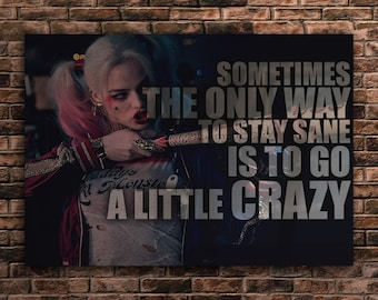 Harley Quinn art Quote Print Batman
