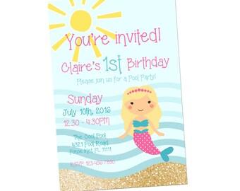 Mermaid Birthday Party Printable, Mermaid birthday invitation, Mermaid party, 4x6, Birthday invitation