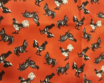 Robert Kaufman Fabric, Black Roosters on red background