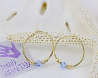Gold filled hoop earrings Aqua blue Swarovski crystal bead endless round handmade