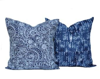Premier prints one Paisley and one tie-dye pillow covers, cushion, decorative throw pillow, Navy Blue pillow, Beach pillow, Belgian linen