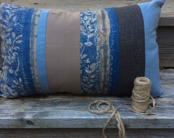 Lumbar Toss Cushion, Throw pillow, Vintage Linen Patchwork ,Indigo,Gray, Boho Decor,Linen & Cotton