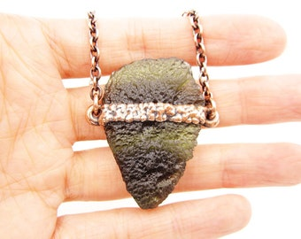 "Large Moldavite ""Arrowhead"" Necklace 