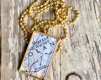Poland Map Necklace, Gold Map Pendant Necklace , Travel Gift Jewelry, Mother's Day Gift