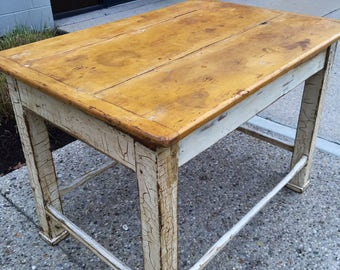 Antique Mustard White Farm Country Work Table 31.5d45w32h Shipping is not free