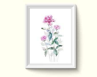 Rose Flower Watercolor Painting Poster Art Print P381