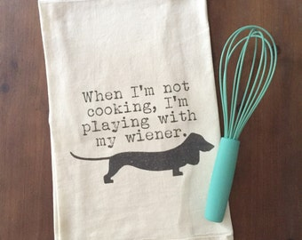 Wiener Dog Flour Sack Tea Towel