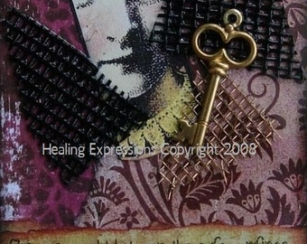SAFE CONFINES altered art collage therapy ACEO ATC PRINT