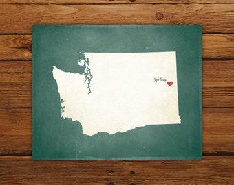 Customized Printable Washington State Map Art - DIGITAL FILE - Aged-Look Canvas Wall Art Print