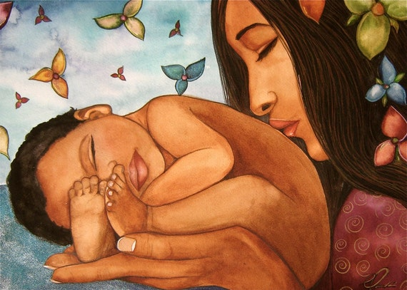 mother and child welcome to the world art print