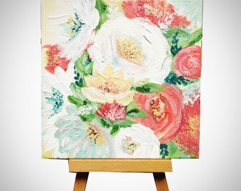 Flower boquet  canvas art, mini 4x4 with wood easel, reds, pinks and yellows