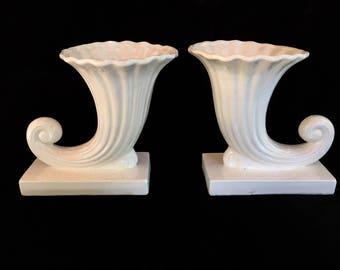 Horn of Plenty, Vintage Porcelain Cornucopia, Vintage Horn Vase, Horn Vase Planter, White Vase, Made In Japan, Vintage Japanese