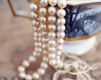 Vintage Glass Pearl Strand 21 inches long Dark Cream Luster Color Pearls 6mm Knotted Pearls with Long Silk Cords Ends (1 Strand) DA6