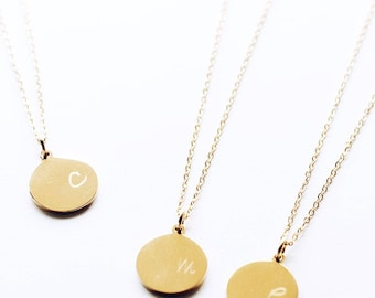 N1118 GD Gold Stamped Initial Letters Disc Pendants, Personalize Initials Disc Necklaces