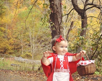 Baby Dirndl  Dress in Red with Cape (Red Riding Hood, Oktoberfest, baby Christmas dress)