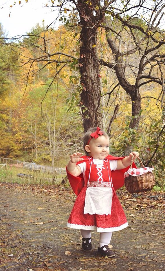 Baby Dirndl Dress in Red with Cape