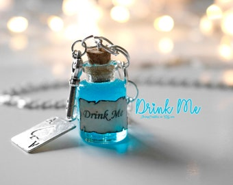 Drink Me necklace. Drink Me. Bottle. Bottle charm. Glass vial. vial charm. drink me charm. blue. cute. silver key. pendant