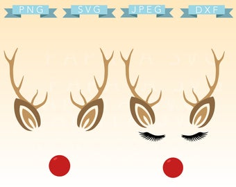 Rudolph Frame Set File - SVG, PNG, JPEG - Cricut, Sihouette Cameo, Vector, lashes, Christmas, Rudolf, red nose reindeer, holiday, classic