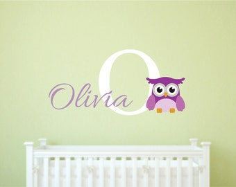 Nursery Owl Decals - Owl Name Wall Decal, Owl Wall Decal, Cute Owl Decal, Owl Decal, Nursery Decor, Kids name wall decal