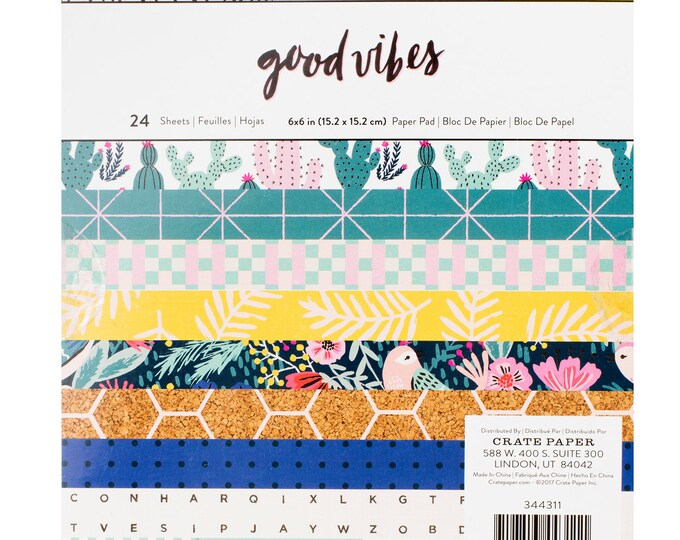 Good vibes 6x6 paper pad by crate paper