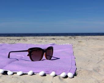 Beach towel 100% linen 35x58″ - violet picnic blanket - sauna towel - bath towel sheet - spa towel - gift - boho - hippie