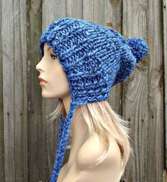 Acai Blue Slouchy Hat Blue Knit Hat Blue Womens Hat Blue Hat Blue Beanie - Charlotte Slouchy Ear Flap Hat