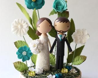 custom wedding cake topper - whimsy garden