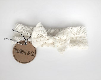 Cream Crochet Baby Knot Headband // Infant Headband // Newborn Headband // Knotted Headband // Baby Turban //