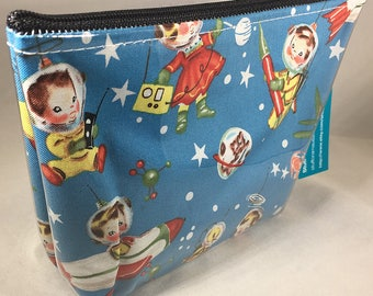 Make Up Bag - Retro Space Kids Zipper Pouch