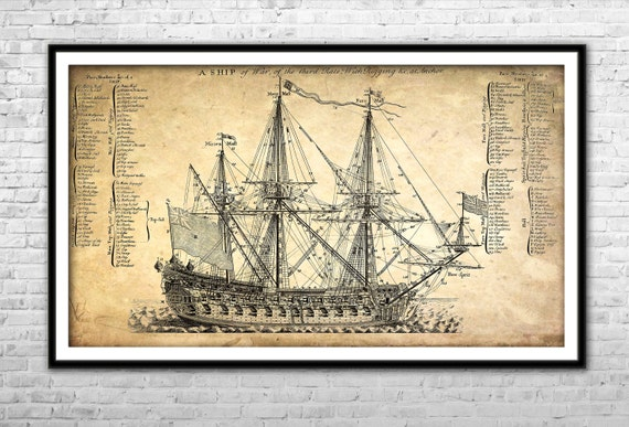 Old Ship Blueprint Paper Canvas Print Warship poster Wall Art