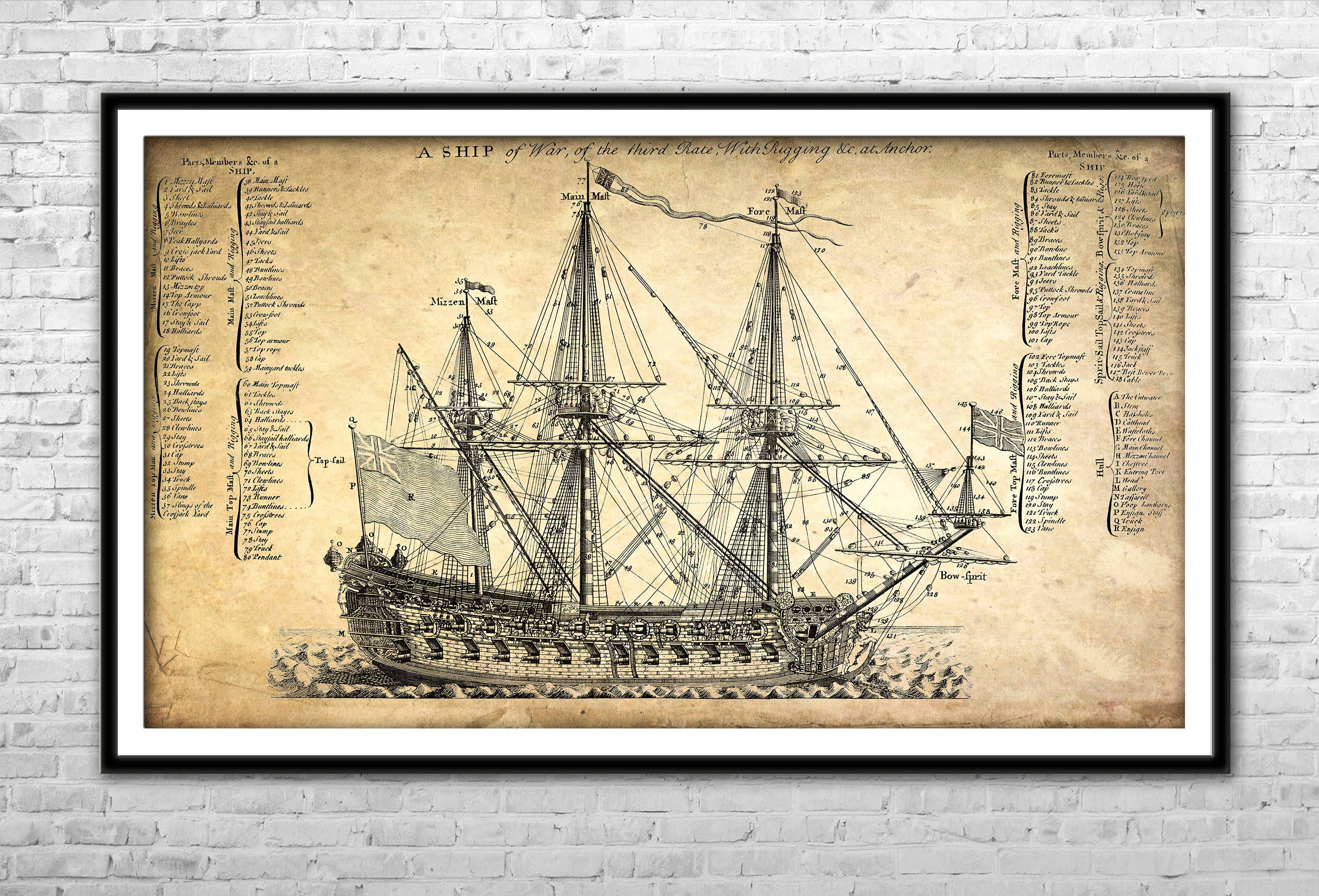 Old Ship Blueprint Archival Paper Print and Canvas Print
