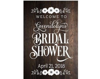Bridal Shower Sign Decal Personalized Name and Date Bride Wedding Reception Sign Stickers Bridal Party Maid of Honor Oracal Vinyl Letters