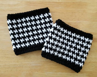 Crochet Boot Cuffs Houndstooth - Boot Toppers - Boot Socks - Faux Leg Warmers - Womens Fashion Accessories - Fall Winter Accessories