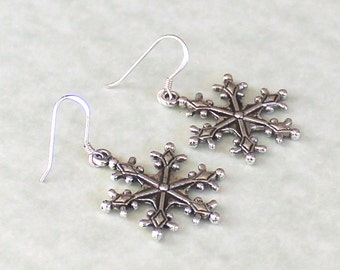 Snowflake Earrings - Snowflake Jewelry - Winter Jewelry - Winter Earrings - Holiday Jewelry - Holiday Earrings - Christmas Earrings CE05