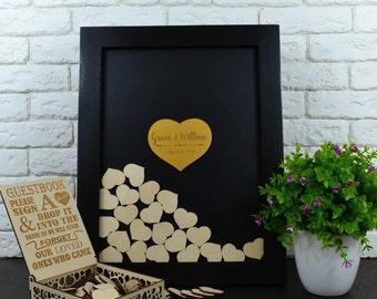 Wedding Guest Book Alternative Wedding Guestbook Gold Wooden Guest Book drop box wedding guest book white black Frame