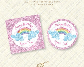 Glitter Rainbow Birthday Party Printable Custom Cupcake Toppers Stickers Shimmer Sparkle Glimmer digital instant download diy pdf circle