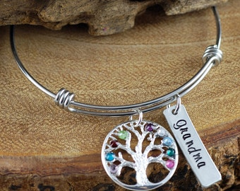 Silver Tree of LIfe  Bracelet, Personalized Birthstone Bracelet, Grandmother Bracelet, Gift for Grandma, Mothers Day Gift