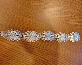 Vintage Filigree Sterling Silver Bracelet