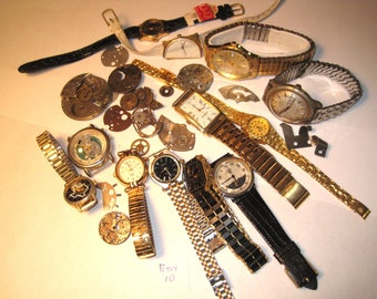 Vintage watches, band and parts-a full pound!