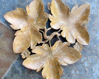 Vintage Black Forest Leaf Tray Wood Carving Hand Carved Wooden Dish Three Maple Oak Leaves Folk Art Carving